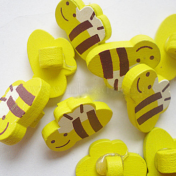 Painted Buttons in Bee Shape, Wooden Buttons, Yellow, 20x13mm(X-NNA0YV3)
