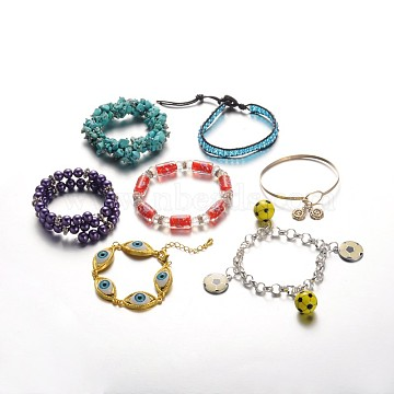 Stylish Mixed Style Bracelets, Mixed Color, 165~200x8~10mm(BJEW-X0007)