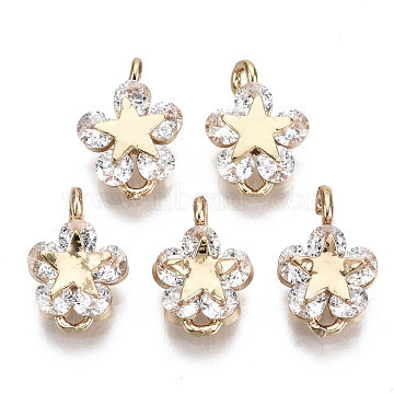 Brass Micro Pave Cubic Zirconia Charms, Flower, Long-Lasting Plated, Light Gold, Clear, 11.5x8x3.5mm, Hole: 1.2mm(X-KK-R111-022G)