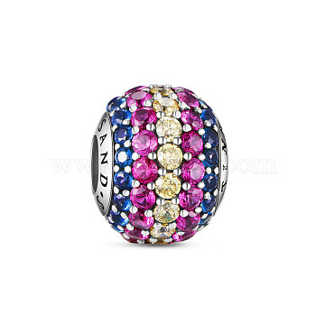 TINYSAND Rondelle 925 Sterling Silver European Beads, Large Hole Beads, with Cubic Zirconia, Colorful, 12.2x9.74mm, Hole: 4.28mm(TS-C-035)