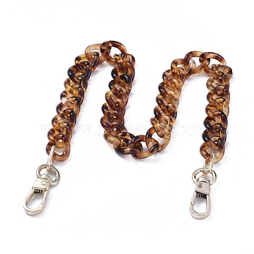 Acrylic Curb Chains Purse Bag Handle, with Aluminum Links and Alloy Swivel Clasps, for Replacement Bag Accessories, Light Gold, 15.94 inches(40.5cm)(AJEW-BA00009)