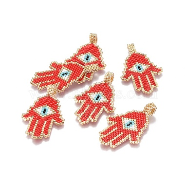 45mm Red Palm Glass Pendants