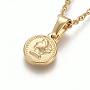 304 из нержавеющей стали кулон ожерелья, с кабельными цепями и застежками из лобстера, плоские круглые с человека, золотой, 17.6 (44.8 см); 1.5 мм