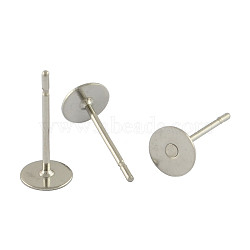 304 Stainless Steel Flat Round Blank Peg Stud Earring Findings, Stainless Steel Color, 12x6mm, Pin: 0.6mm(X-STAS-S028-25)