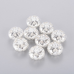 Spacer Beads, Iron, Hollow, Flat Round, Silver Color Plated, 23mmx12.5mm, hole: 2mm(X-E060Y-S)