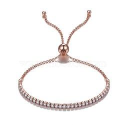 925 bracelets coulissants en argent sterling, bracelets bolo, avec zircons, effacer, or rose, 10-1 / 2 (26.8 cm)(BJEW-BB35597-RG)