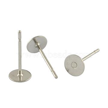 Accessoires clou d'oreille vierge ronde et plate en 304 acier inoxydable, couleur inoxydable, 12x6mm, pin: 0.6 mm(X-STAS-S028-25)