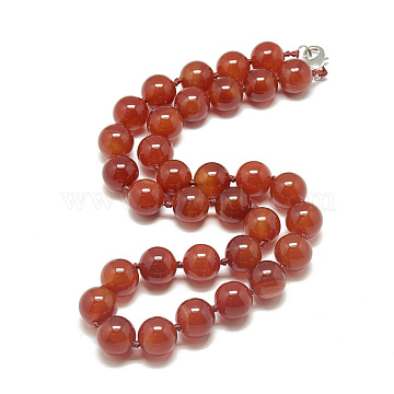 Natural Carnelian Beaded Necklaces, with Alloy Lobster Clasps, Round, Dyed, 18.8 inches~19.2  inches(48~49cm), round: 10mm(NJEW-S404-16)