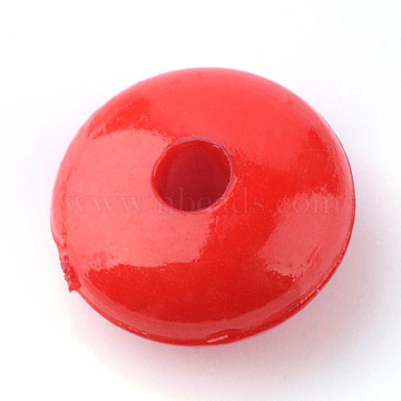 Opaque Acrylic Beads, Rondelle, Red, 8x4mm, Hole: 1.5mm(X-SACR-S823-C07)