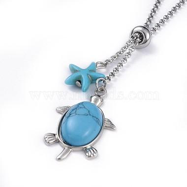 Tortoise Brass Synthetic Turquoise Lariat Necklaces(NJEW-JN02456-04)-2