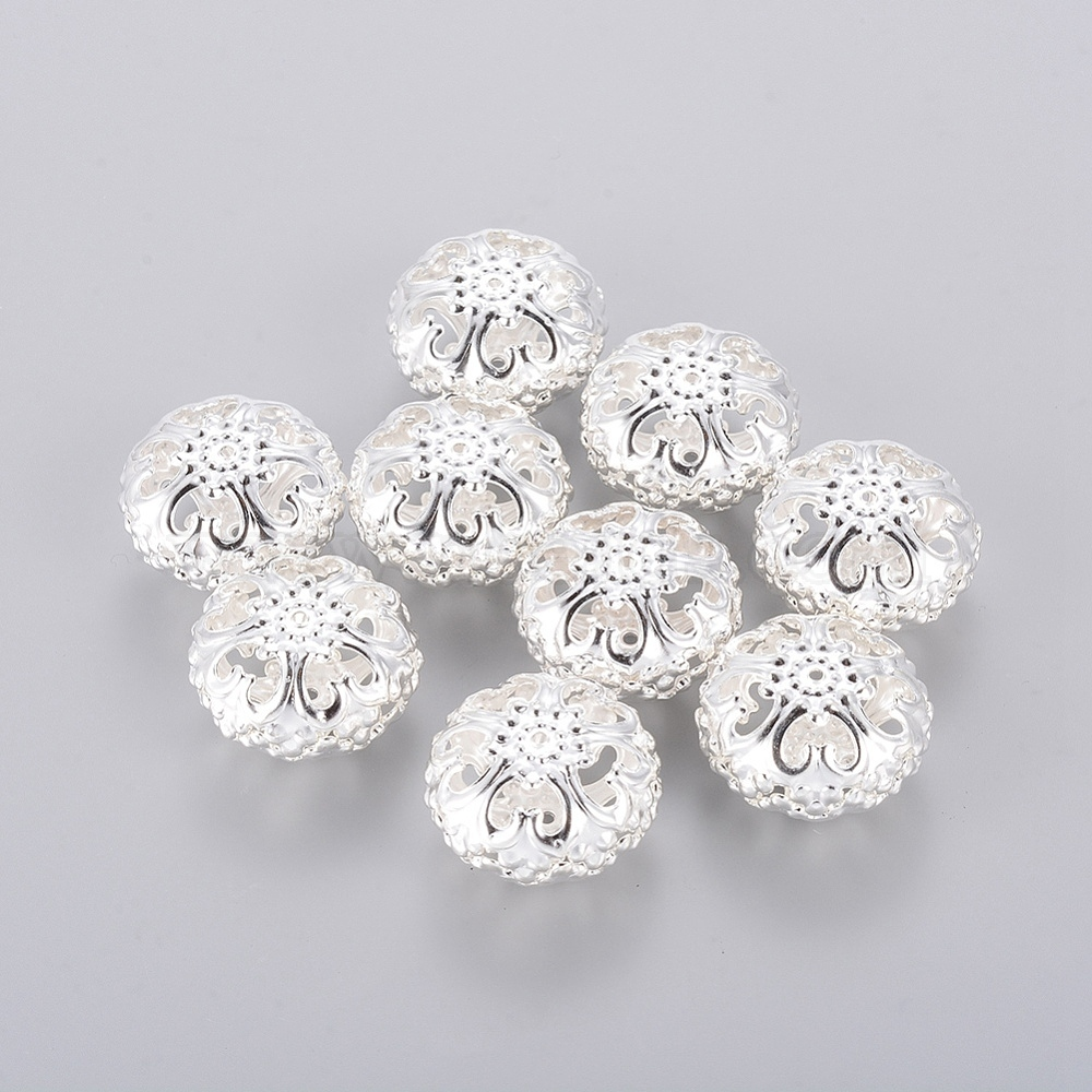 10 Pcs Silver Plated Iron Hollow Flat Round Spacer Beads 23mmx12.5mm hole 2mm