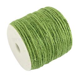 Cordon de chanvre coloré, chaîne de chanvre, ficelle de chanvre, 3 pli, pour la fabrication de bijoux, 'Chartreuse , 2 mm; 100 m / rouleau(OCOR-R008-2mm-001)