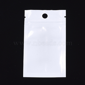 Pearl Film Plastic Zip Lock Bags, Resealable Packaging Bags, with Hang Hole, Top Seal, Rectangle, White, 10x6cm; inner measure: 7x5cm(OPP-R003-6x10)