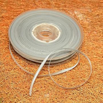 Double Edge Silver Thread Grosgrain Ribbon for Wedding Festival Decoration, Light Grey, 1/4 inch(6mm), about 100yards/roll(91.44m/roll)(SRIB-L012-6mm-007)