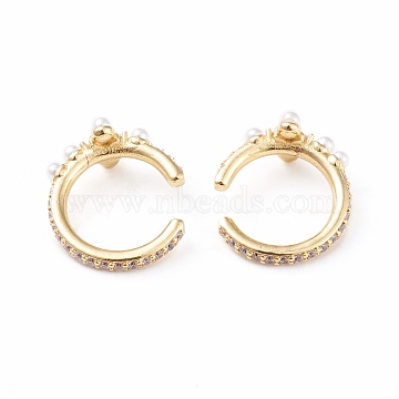 Brass Cuff Earrings, with Clear Cubic Zirconia and Acrylic Imitation Pearl, Long-Lasting Plated, Golden, 19x17x2~8.5mm(EJEW-L234-004G)