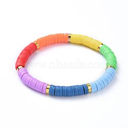 """Bijoux chakra, bracelets élastiques faits à la main de perles heishi en pâte polymère, laiton séparateurs perles, couleur mixte, 2-1/8"""" (5.4 cm)(X-BJEW-JB04486)"""
