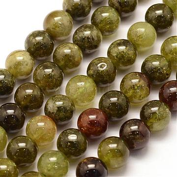 Natural Green Green Garnet Beads Strands, Andradite Beads, Round, 8mm, Hole: 1mm; about 48pcs/strand, 15.3 inches(39cm)(G-G661-8mm)