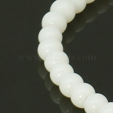 4mm White Round Glass Beads