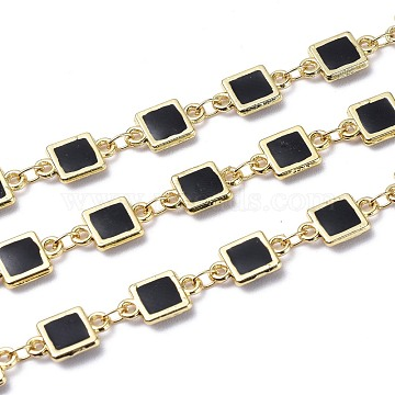 Handmade Alloy Enamel Square Link Chains, with Spool, Soldered, Long-Lasting Plated, Lead Free & Cadmium Free, Golden, Black, 12x7x1.7mm(ENAM-F138-06D-RS)