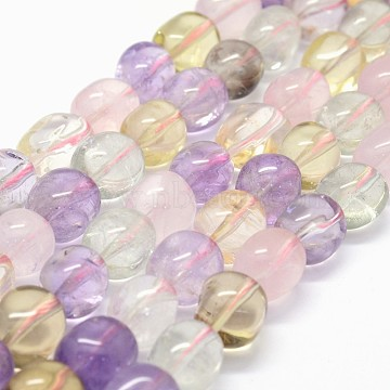 Natural Ametrine Beads Strands, Oval, 13~15x10~12mm, Hole: 1mm; about 28pcs/strand, 15.3inches(G-K285-18A)