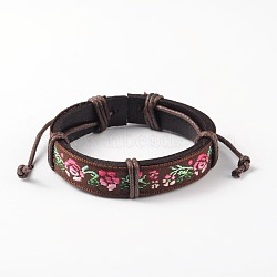 Bracelets réglables unisexe en corde de peau de vache, fleur motif cordon en tissu, coconutbrown, 58x56mm(BJEW-L544-10B)
