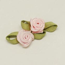 accessoires de costumes tissés à la main, fleur, mistyrose, 11x24x6 mm(WOVE-QS2003-1)