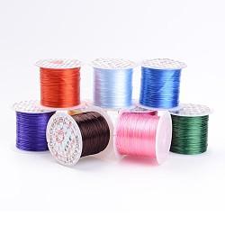 Chaîne de cristal élastique plat, fil de perles élastique, pour la fabrication de bracelets élastiques, teint, couleur mixte, 0.8mm, 11m/rouleau(EWM01)