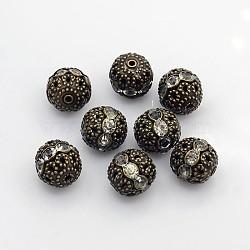 Laiton perles rondes de strass, Grade a, sans nickel, bronze antique, cristal, 12 mm de diamètre, Trou: 1.5mm(X-RB-A011-12mm-01AB-NF)