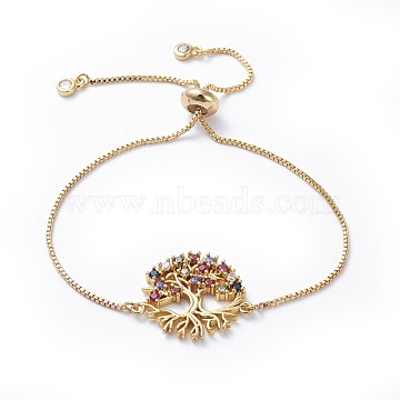 Adjustable Brass Micro Pave Cubic Zirconia Bolo Bracelets, Slider Bracelets, Box Chains, Packing Box, Tree of Life, Golden, 10 inches(25.5cm); 1mm(BJEW-JB04432-03)