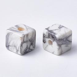 Perles acryliques imprimées, cube, gris clair, 15x15x15mm, Trou: 3.5mm(MACR-T024-64)