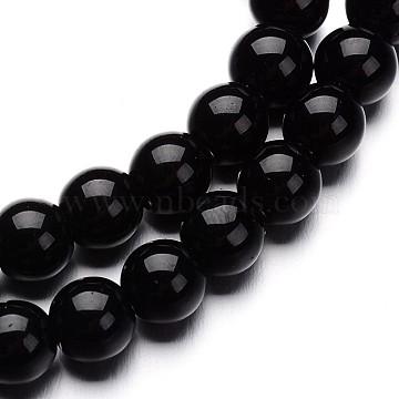 стеклянные круглые пряди из бисера, черный, 4 mm, отверстия: 1 mm; о 80 шт / прядь, 11(X-GLAA-I028-4mm-02)