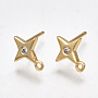 Brass Cubic Zirconia Stud Earring Findings, with 925 Sterling Silver Pins, Star, Clear, Real Gold Plated, 10x8mm, Hole: 0.8mm; Pin: 0.7mm