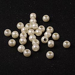 Perles européennes imitation plastique abs, grand trou perles rondelle, blanc crème, 11.5~12x10 mm, trou: 5 mm(X-MACR-R530-12mm-A41)
