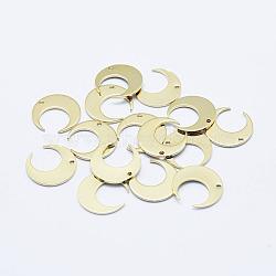 pendentif en laiton plaqué, plaqué longue durée, réel 18 k plaqué or, sans nickel, double corne / croissant de lune, 14x14x0.7 mm, trou: 1 mm(X-KK-G331-79G-NF)
