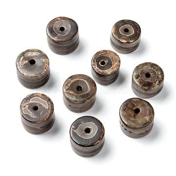 Tibetan Style Striped Pattern dZi Beads, Natural Agate Beads, Dyed & Heated, Column, Coffee, 14~16x10~12mm, Hole: 2~3mm(TDZI-G009-B41)