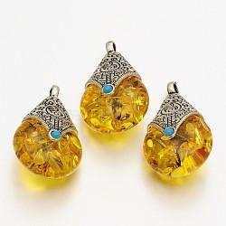 падение тибетских подвески стиль, сплав выводы с пчелиным воском, Старинное серебро, золотарник, 38x22.5x17.5 mm, отверстия: 4 mm(X-TIBEP-N007-01)