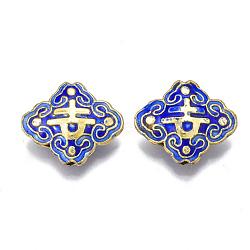 Handmade Cloisonne Beads, Enamel, Rhombus, Blue, 17.5x20.5x6mm, Hole: 1mm(X-CLB-Q001-01A)