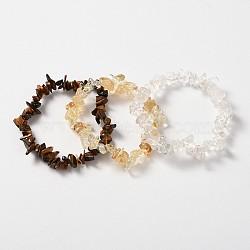 Multi-strand Gemstone Chips Stretch Bracelets, 3 Bracelets a Set, Yellow, 53~55mm(X-BJEW-PH00610-01)
