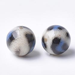 Perles acryliques imprimées, rond, bleu royal, 14x13.5mm, Trou: 2.5mm(MACR-T024-42B)