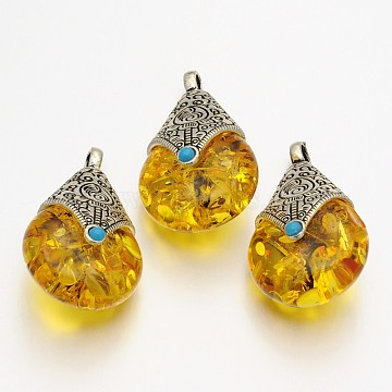 Teardrop Tibetan Style Pendants, Alloy Findings with Beeswax, Antique Silver, Goldenrod, 38x22.5x17.5mm, Hole: 4mm(X-TIBEP-N007-01)
