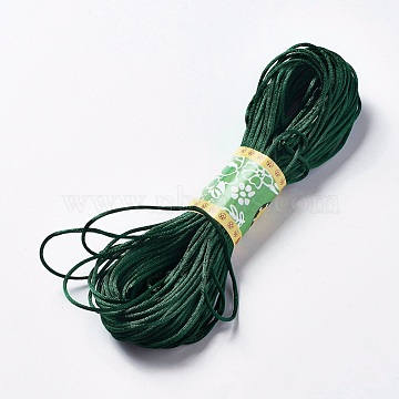 Polyester Thread, Rattail Satin Cord, for Chinese Knotting, Jewelry Making, DarkGreen, 1.5mm; about 20m/bundle(OCOR-WH0012-03)