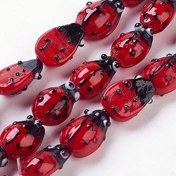 Handmade Lampwork Beads Strands, Ladybug, Red, 9~10x12~14x5~6mm, Hole: 1~2mm(X-LAMP-B189-3)