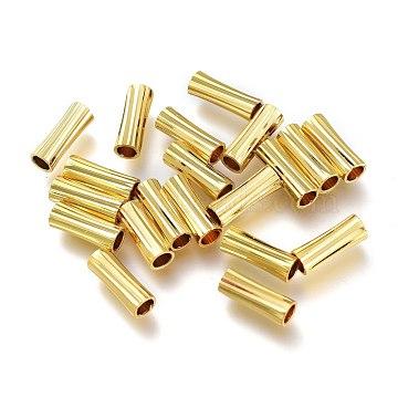 Brass Beads, Long-Lasting Plated, Textured, Tube, Golden, 11x4mm, Hole: 3mm(KK-P189-11G)