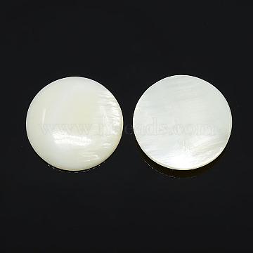 Half Round/Dome Freshwater Shell Cabochon, White, 20x3~4mm(X-PBB236Y)