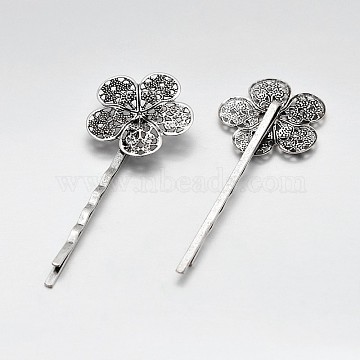 Vintage Iron Hair Bobby Pin Findings, with Filigree Flower Cabochon Bezel Settings, Antique Silver, Flower: 25x25mm, 64x25x5mm(IFIN-J039-14AS)