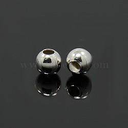 en argent sterling perles d'espacement, arrondir, taille: environ 4 mm de diamètre, trou: 1.5 mm, environ500 pcs / 50 g(STER-A010-23)