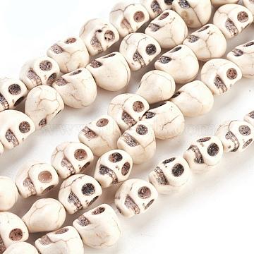 12mm White Skull Howlite Beads