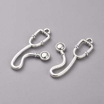 Tibetan Style Alloy Pendants, Stethoscope, Antique Silver, 28x13.5x2mm, Hole: 1.2mm(X-TIBEP-WH0002-13AS)