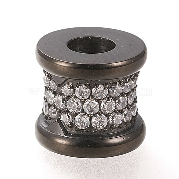 304 Stainless Steel European Beads, Large Hole Beads, with Cubic Zirconia, Vase, Gunmetal, 9x10mm, Hole: 4mm(STAS-K199-06B)