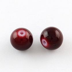 """Perles en verre peintes, cuisson des peintures, rond, brun, 6 mm; trou: 1.3~1.6 mm, Environ 133 pcs/chapelet, 31.4""""(X-DGLA-S071-6mm-B30)"""